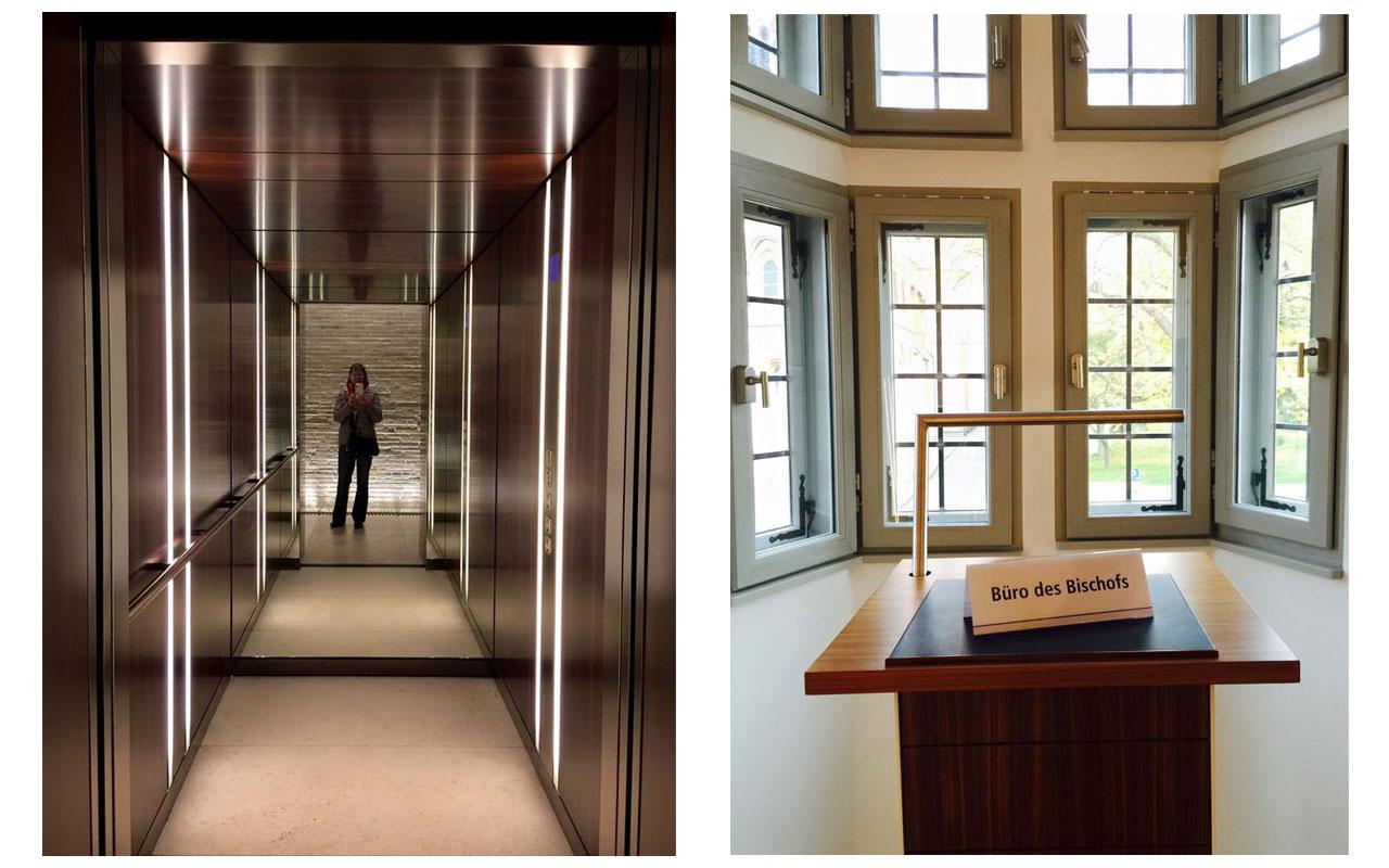 Links der Fahrstuhl der Residenz. Rechts sollte das Büro des Bischofs Tebartz-van Elst werden . Vermutlich wollte er als Oberhirte aus dem Fenster zu seinen Schäfchen sprechen. © Lilly Moments