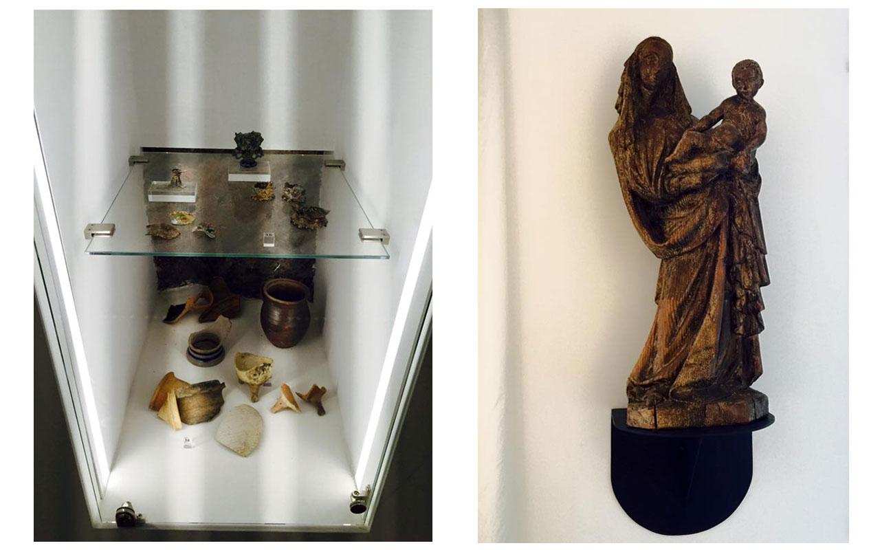 Links Fundstücke aus den Bauarbeiten für den Neubau der Bischofsresidenz. Rechts Heilige Maria. © Lilly Moments