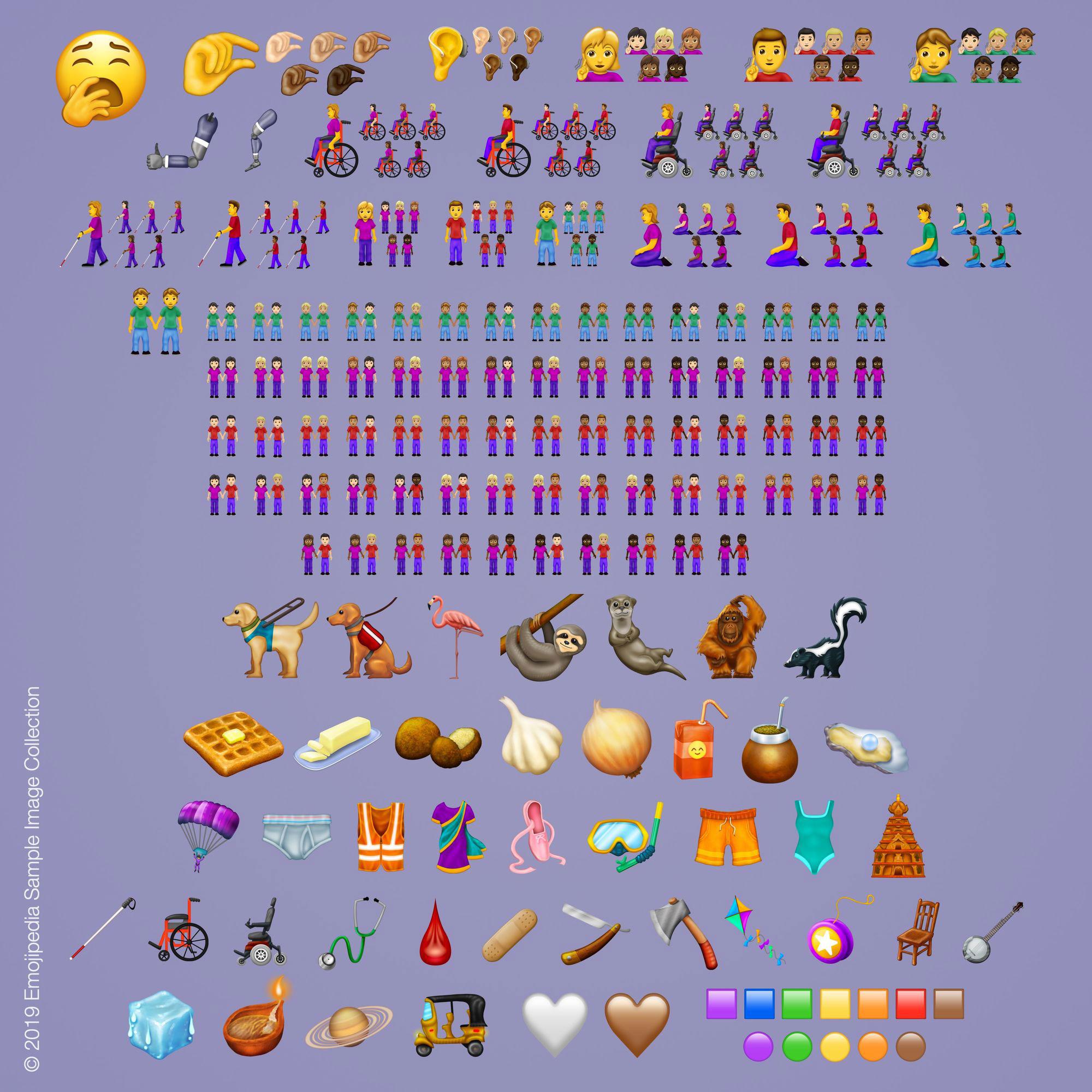 Die 230 neuen Emojis auf einem Blick. © Emojipedia