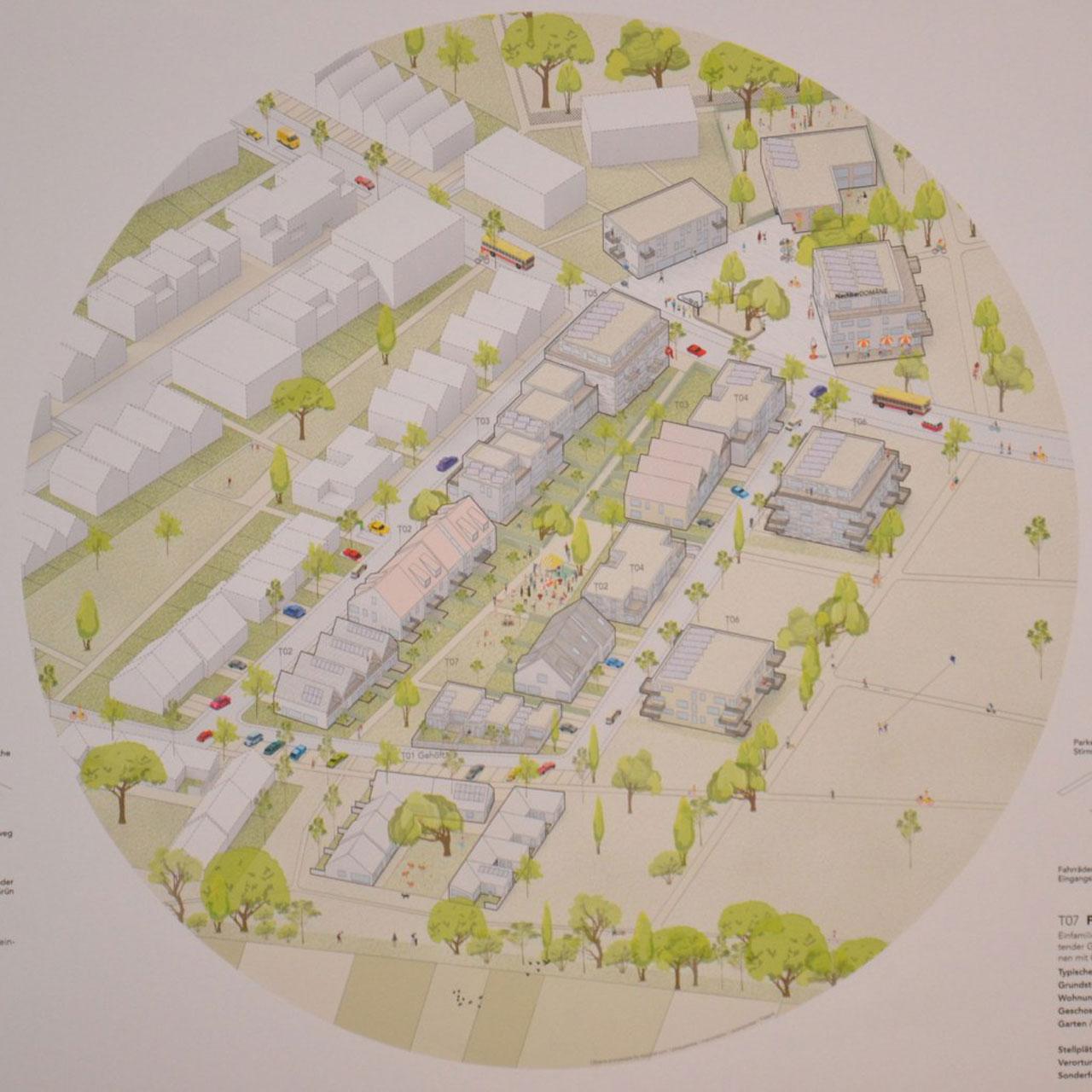 In dem preisgekrönten Konzept ist eine Bebauung mit unterschiedlichen Haustypen vorgesehen. © Stadt Limburg