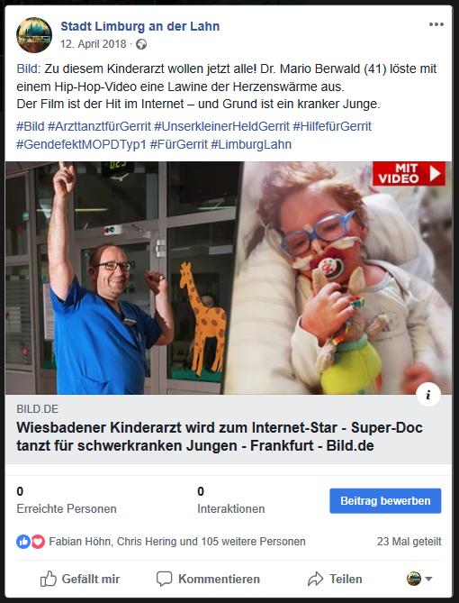 Solche Inhalte werden wir künftig nach Einführung des Artikel 11 auf unserer Facebook-Seite nicht mehr teilen dürfen. Schade eigentlich, denn mit 7.500 Fans sind wir ein kostenloser Traffic-Lieferant, in diesem speziellen Fall für Bild.de. Foto: Screenshot Facebook