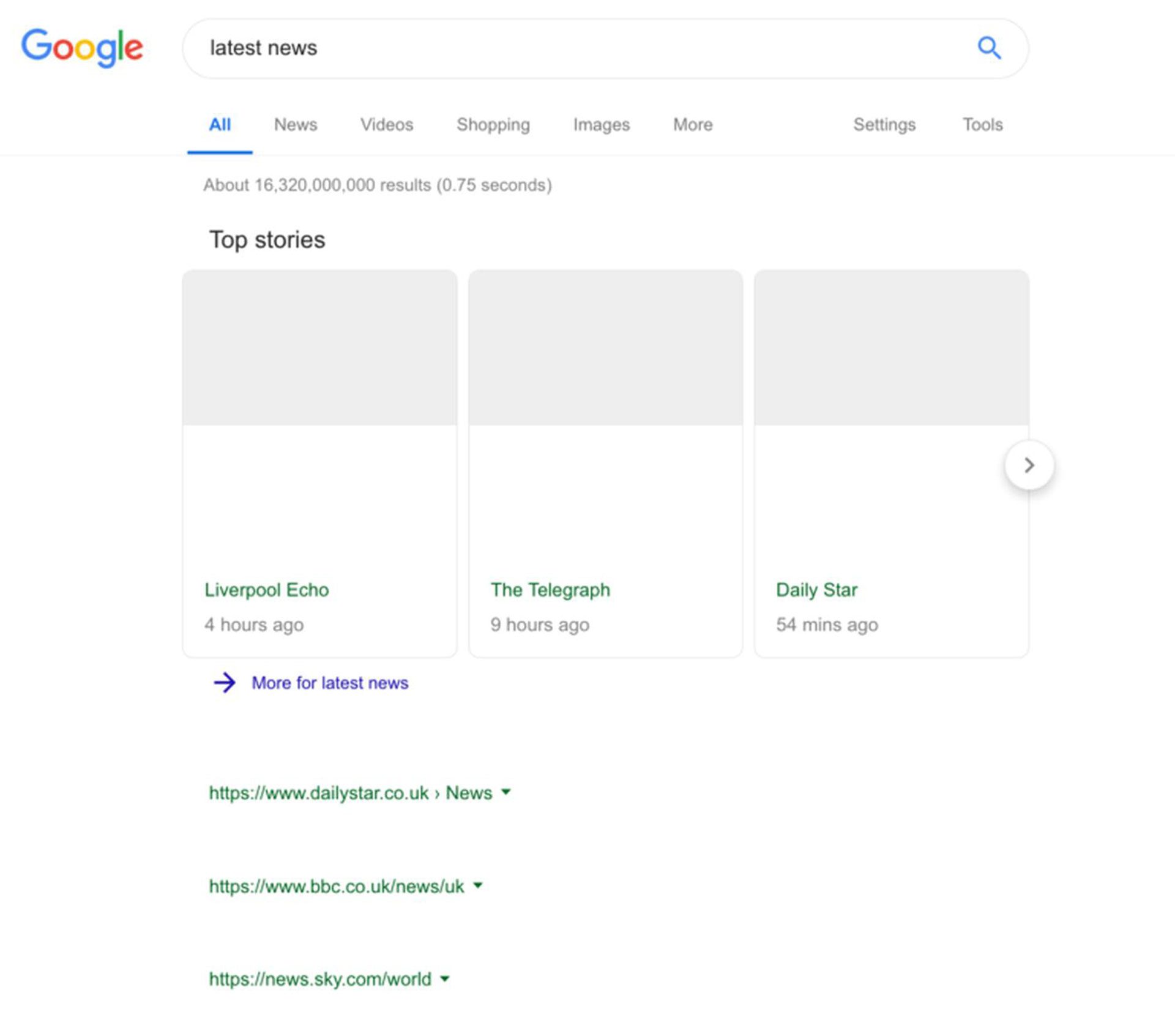 Googles Experiment nicht auf Google News beschränkt, sondern das ist die erste Suchergebnisseite nach einer Google-Suche. Was aussieht wie eine nicht vollständig geladene Google-Suchergebnisseite war im Januar tatsächlich bei vielen Nutzern zu sehen. © GoogleWatchBlog