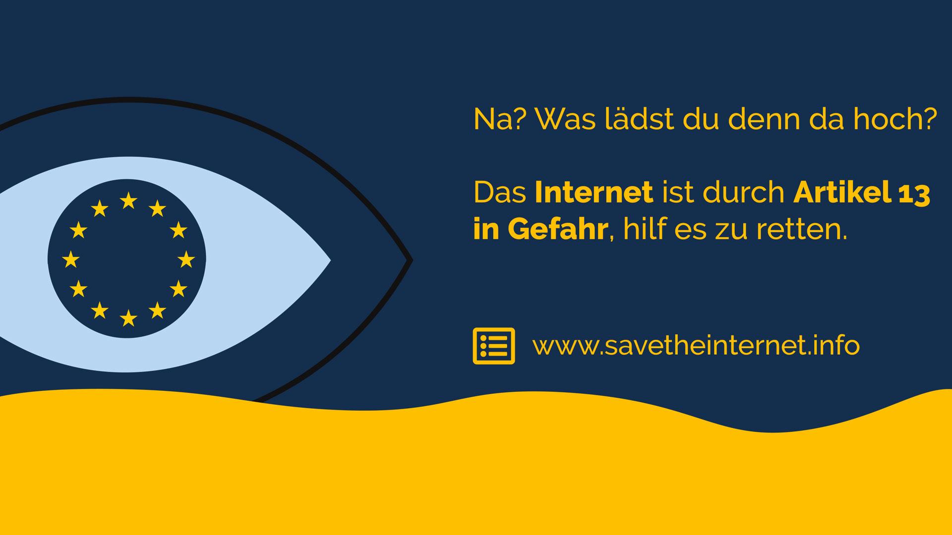 Hier geht es zur Petition: Stoppt die Zensurmaschine - Rettet das Internet! #Uploadfilter #Artikel13. © savetheinternet.info
