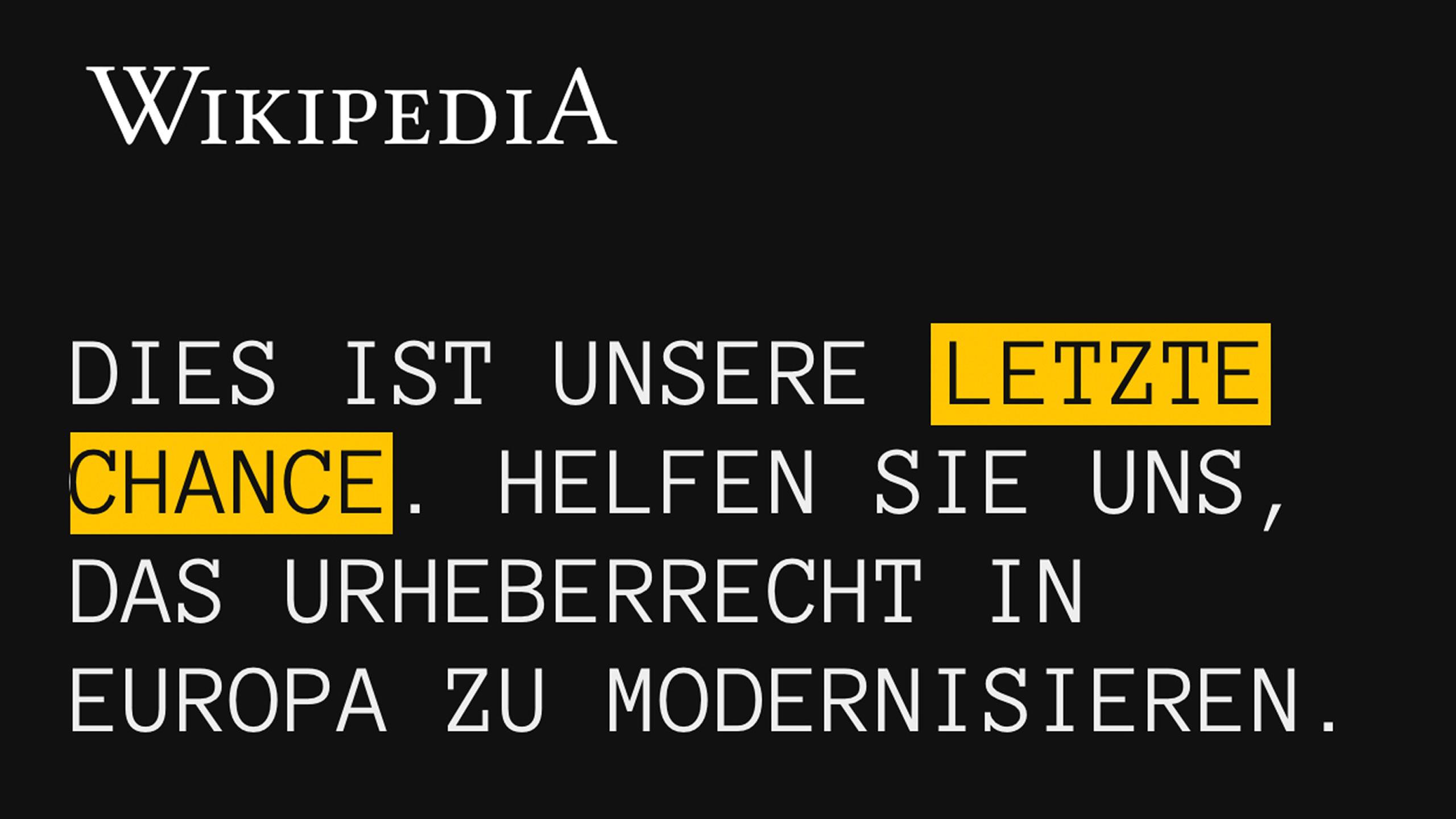 Vergangenen Donnerstag, 21. März, sah Wikipedia aus Protest gegen Teile der geplanten EU-Urheberrechtsreform so aus. Foto: Screenshot Smartphone Luís Matos