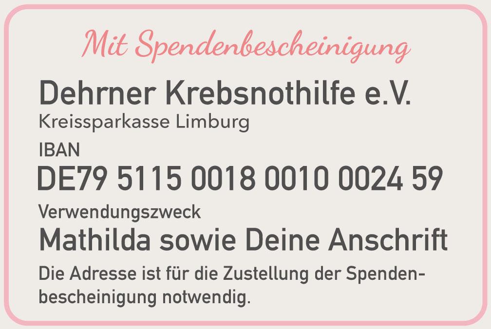 Hier für Mathilda bei der Dehrner Krebsnothilfe e. V. mit Spendenbescheinigung spenden. | Neues Limburg