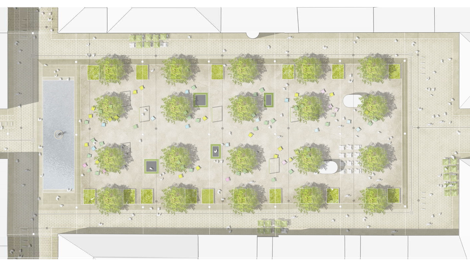 [f] Landschaftsarchitekten hat in ihrem Entwurf den Georgsbrunnen von einer zur anderen Kopfseite des Platzes verlegt. Grafik: [f] Landschaftsarchitekten. © Stadt Limburg