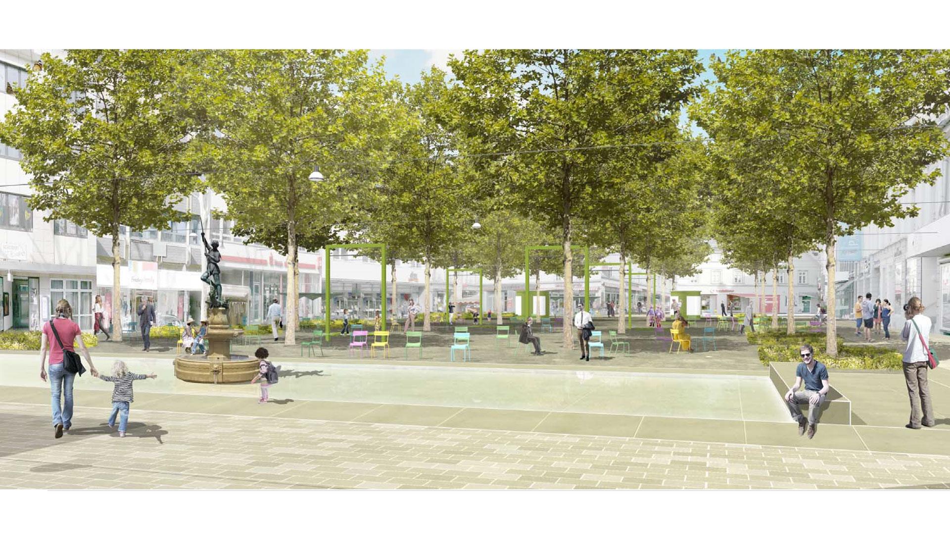 Im Gestaltungskonzept von Susanne Weihrauch vom Planungsbüro [f] Landschaftsarchitektur, würden Passanten die aus der umliegenden Fußgängerzone komme, am Neumarkt so empfangen. Grafik: [f] Landschaftsarchitektur. © Stadt Limburg