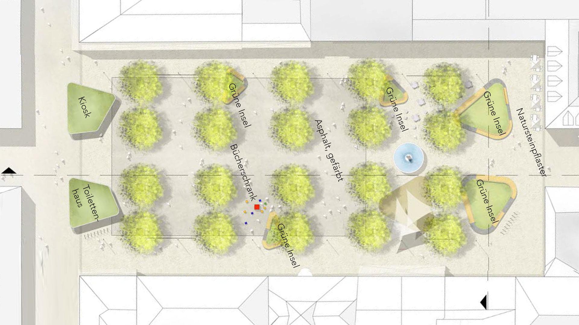 In der Visualisierung von GTL Michael Triebswetter wird der Baumbestand durch fünf bepflanzte grüne Inseln ergänzt. Grafik: GTL Michael Triebswetter Landschaftsarchitekt. © Stadt Limburg