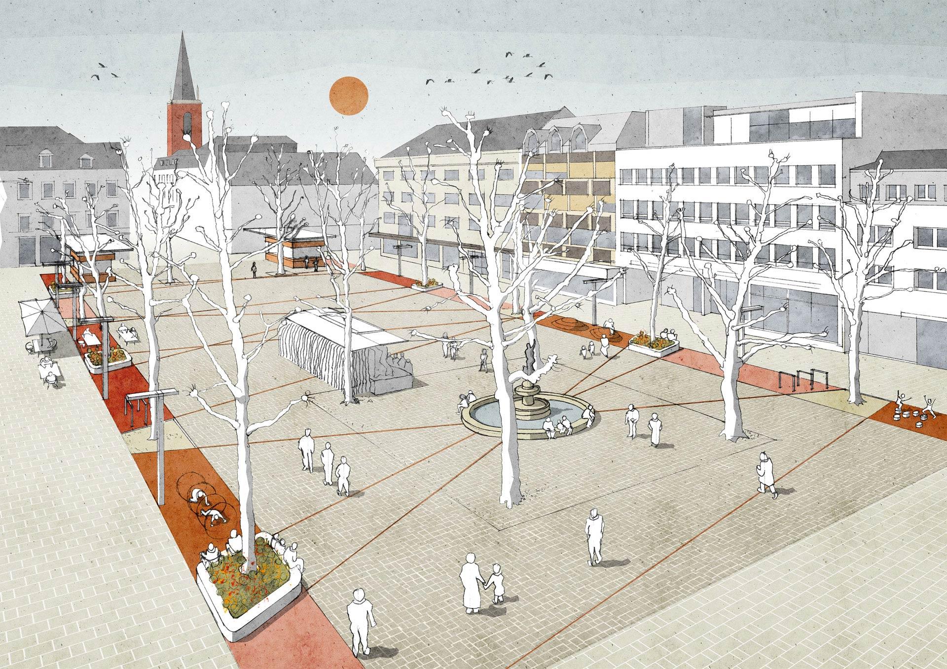 So stellt sich HDK Dutt & Kist den neuen Neumarkt in Limburg vor. Grafik: HDK Dutt & Kist. © Stadt Limburg