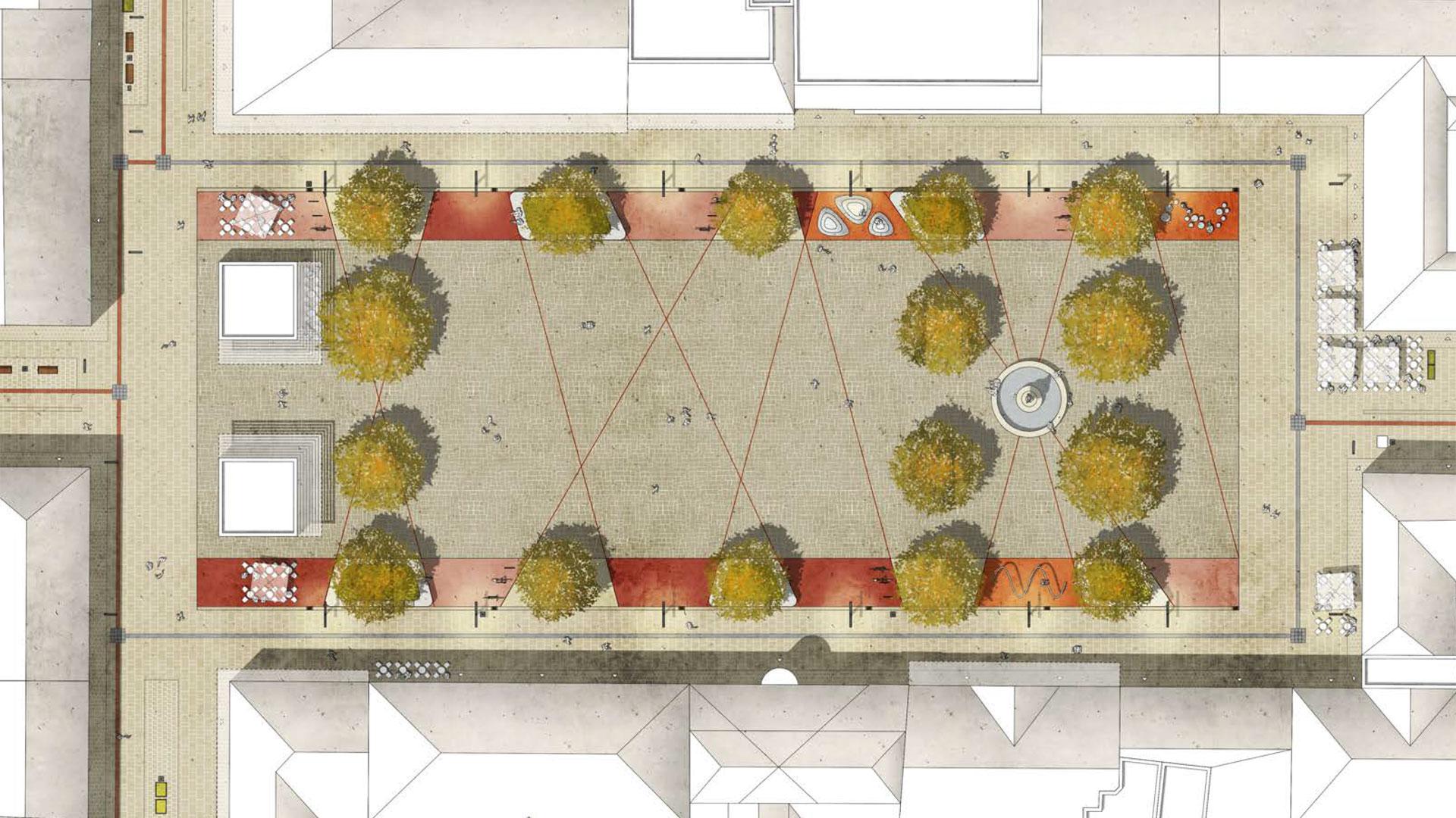 In der Visualisierung von HDK Dutt & Kist ist zu sehen, dass vier Platanen in der Platzmitte verschwinden sollen. Grafik: HDK Dutt & Kist. © Stadt Limburg