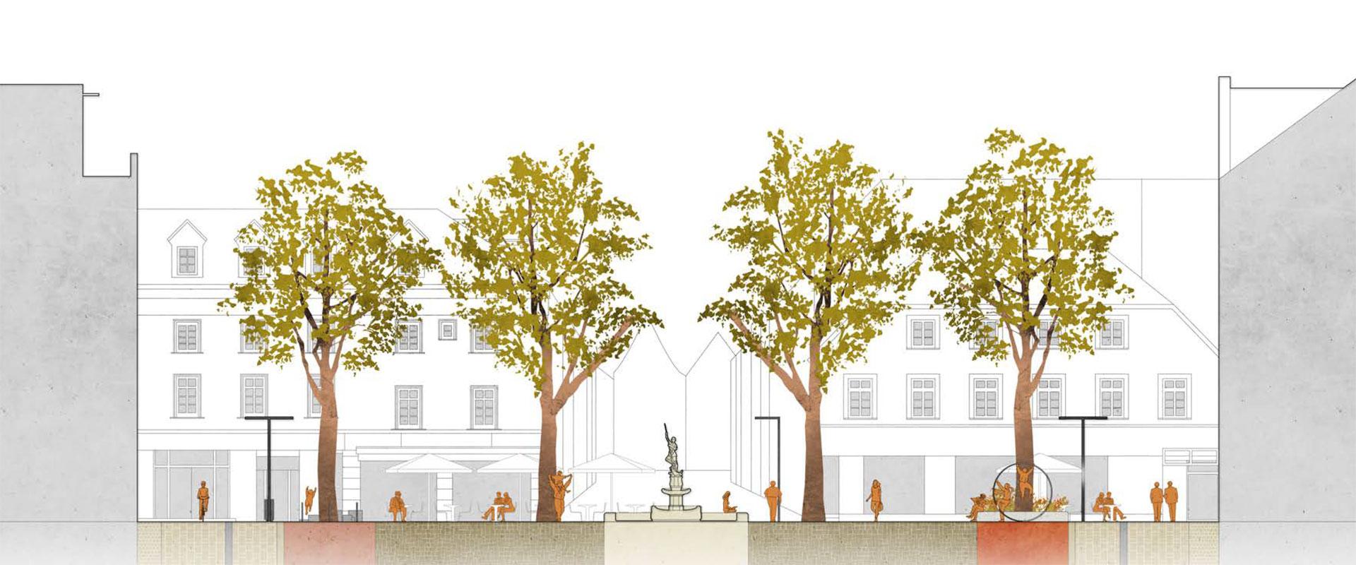 Hier zu erkennen: Doppelbeleuchtung durch Doppelausleger. Grafik: HDK Dutt & Kist. © Stadt Limburg