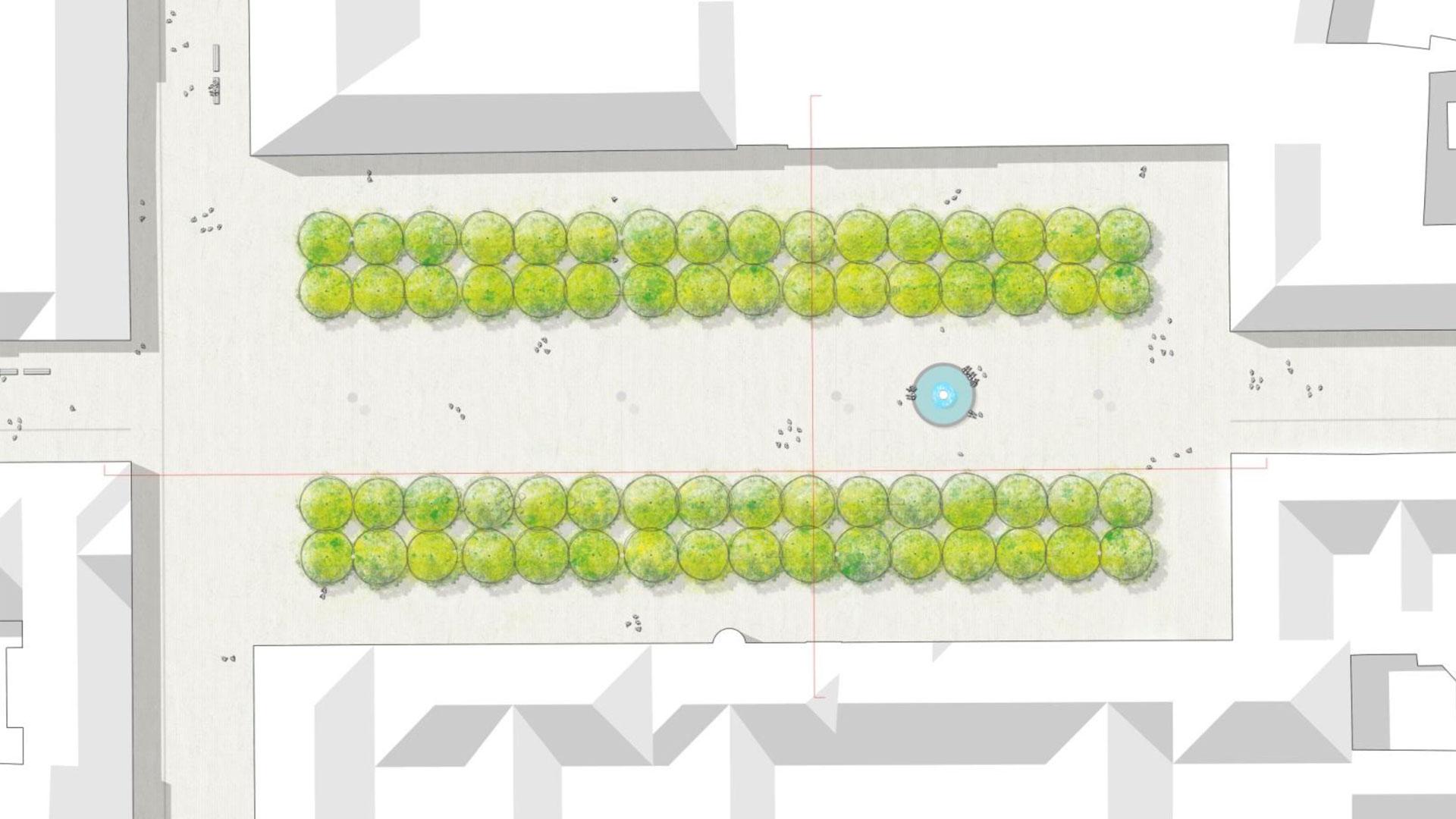 So würden der Neumarkt 2040 aussehen, wenn alle Platanen ersetzt worden wären. Grafik: Mann Landschaftsarchitektur. © Stadt Limburg