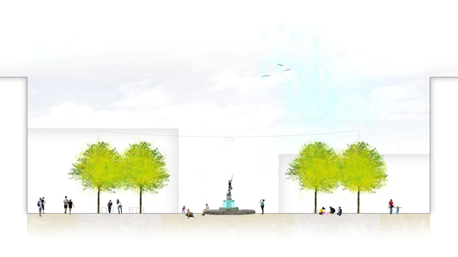Zwei Doppelbaumreihen und Pendelleuchten würden künftig den Neumarkt zieren. Grafik: Mann Landschaftsarchitektur. © Stadt Limburg
