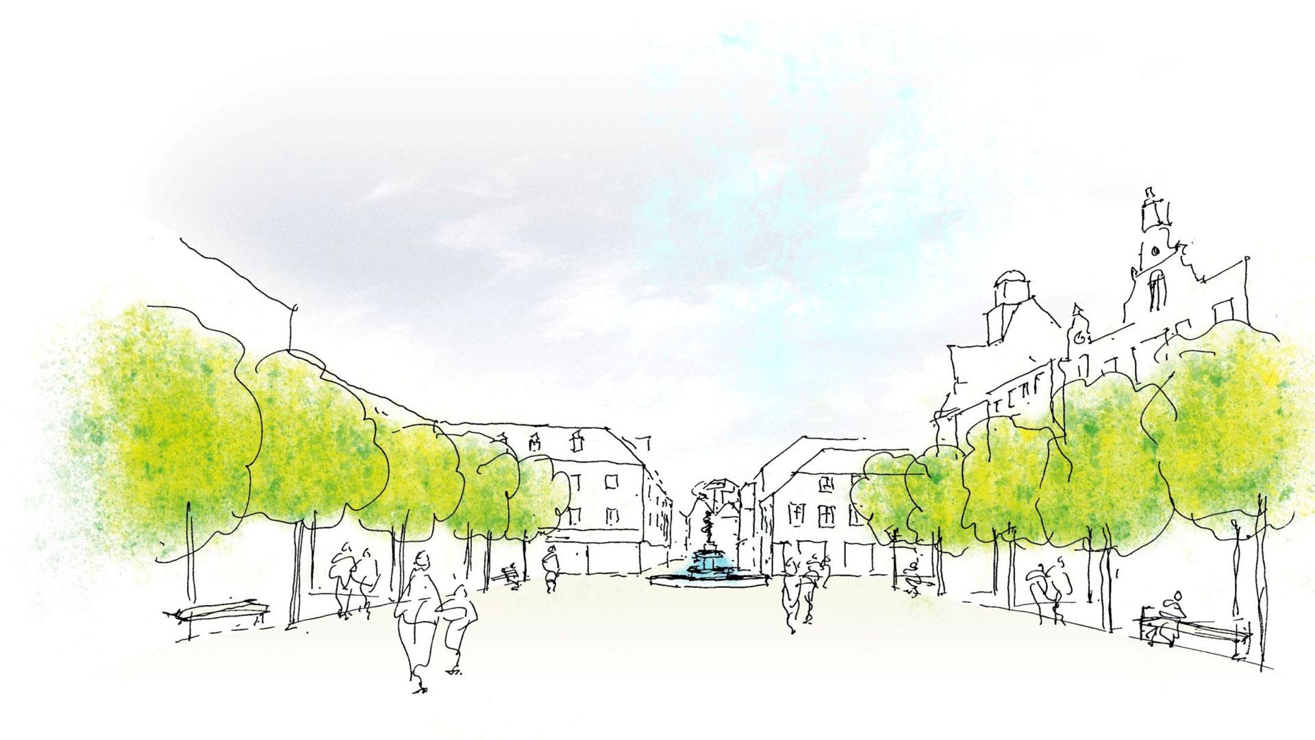 So würde der Neumarkt nach Vorstellung von Tobias Mann handgezeichnet aussehen. Grafik: Mann Landschaftsarchitektur. © Stadt Limburg