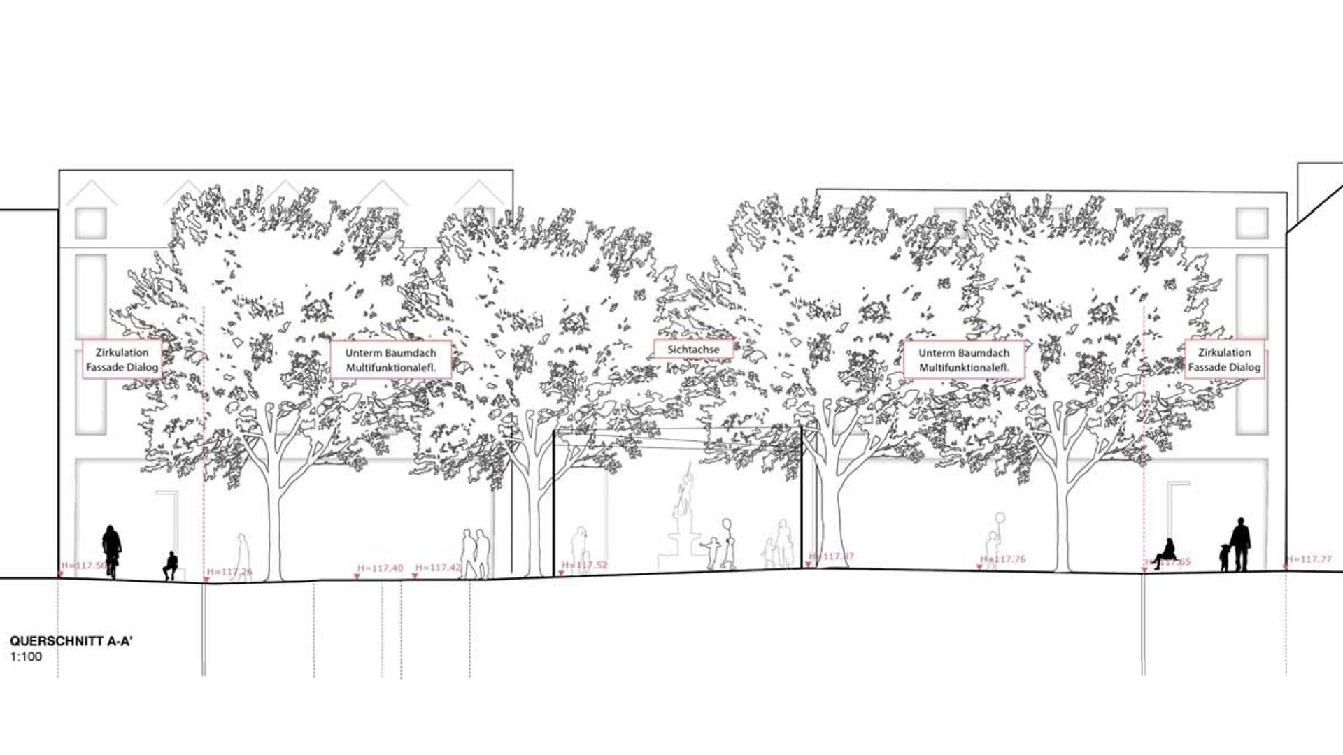 Querschnitt des Entwurfs des Planungsbüros Romboll Studio Dreiseitl. Grafik: Ramboll Studio Dreiseitl. © Stadt Limburg
