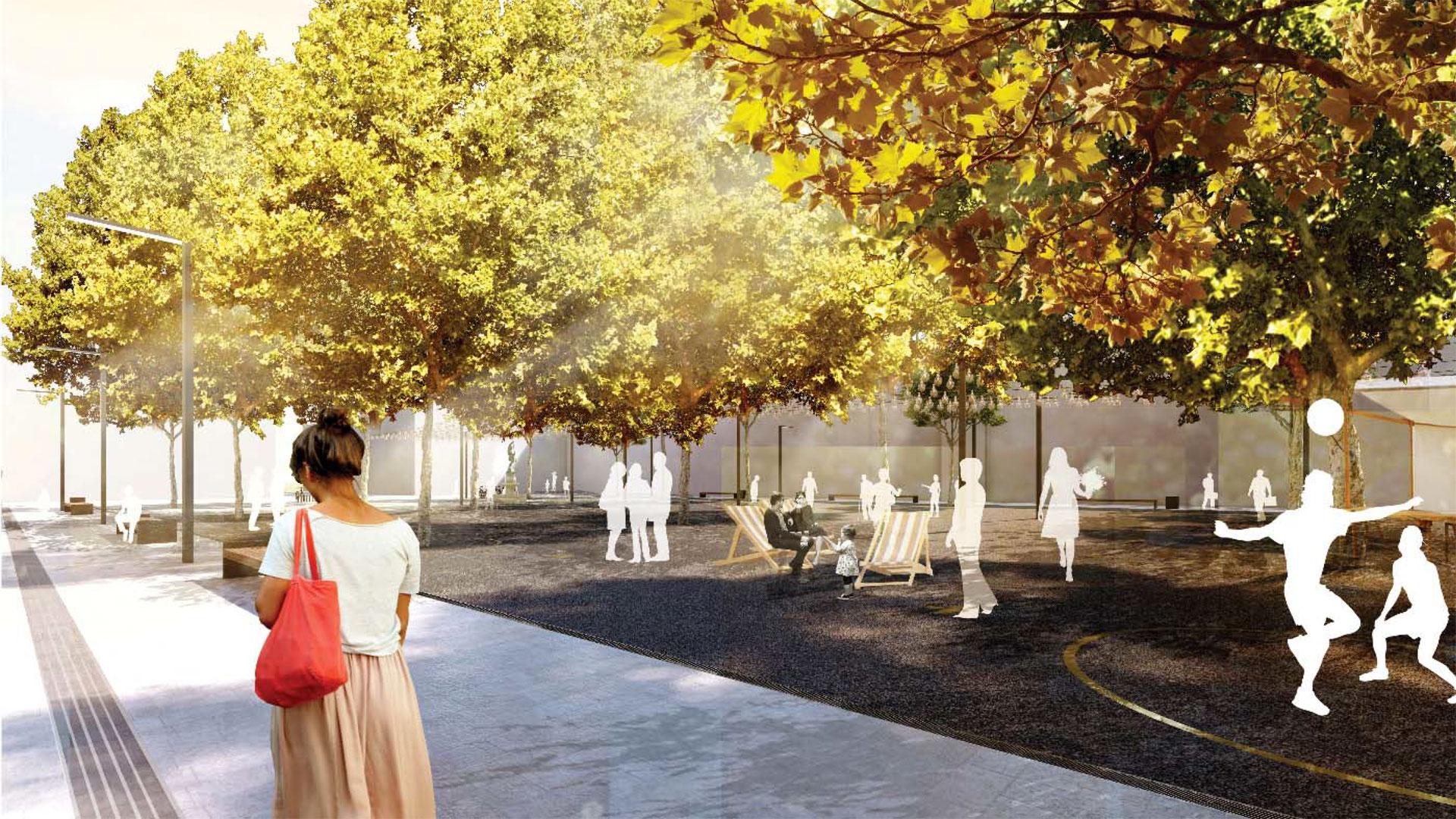 Das Planungsbüro Romboll Studio Dreiseitl würde den Neumarkt in Limburg wie abgebildet neugestalten. Grafik: Ramboll Studio Dreiseitl. © Stadt Limburg